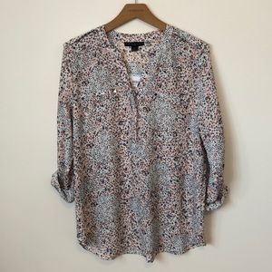 Simply Styled Flower Print Top, 3/4 Roll up sleeve